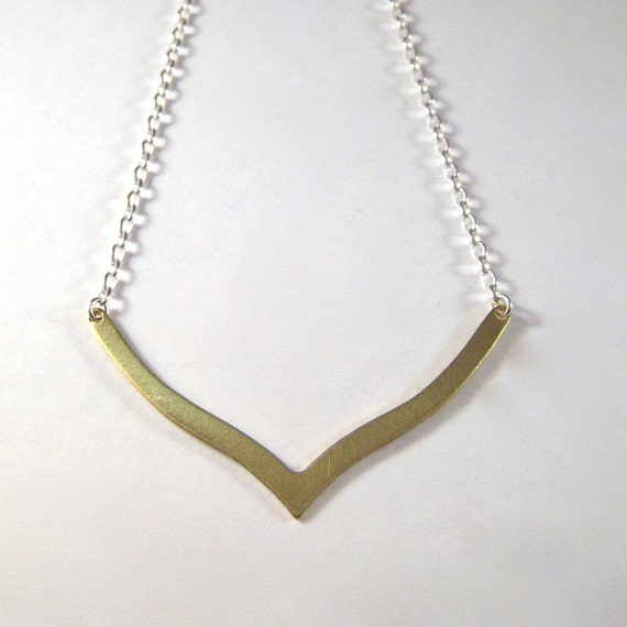 Brass Chevron Necklace, Brass Chevron Sterling Silver Chain Necklace, Modern Brass Jewelry