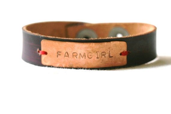 Farmgirl...Copper Leather Cuff Bracelet...Hand Stamped...Purple...Modern...Free Shipping