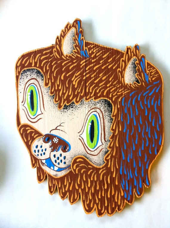 Green eyed bear plywood cutout