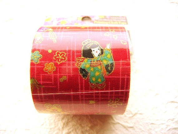 Japanese Fabric Tape Plum Blossoms Little Girls Playing Red