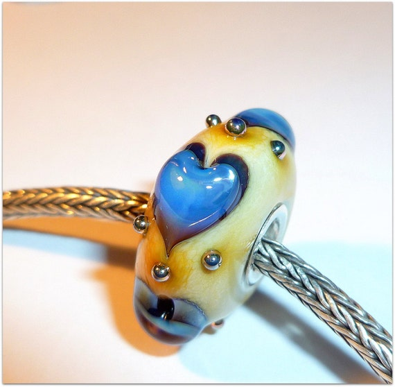 Luccicare Lampwork Bead - FOCAL - Lined with Sterling Silver