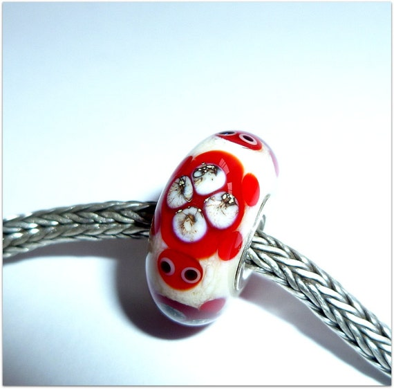 Luccicare Lampwork Bead - Red Turtle - Lined with Sterling Silver