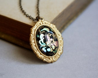 Soiree - vintage inspired cameo necklace - peacock and gold