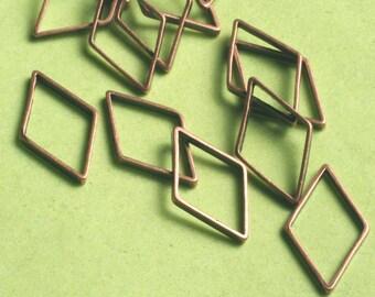 Antique copper diamond link 14x8mm, 24 pcs (item ID YWACFA00705)
