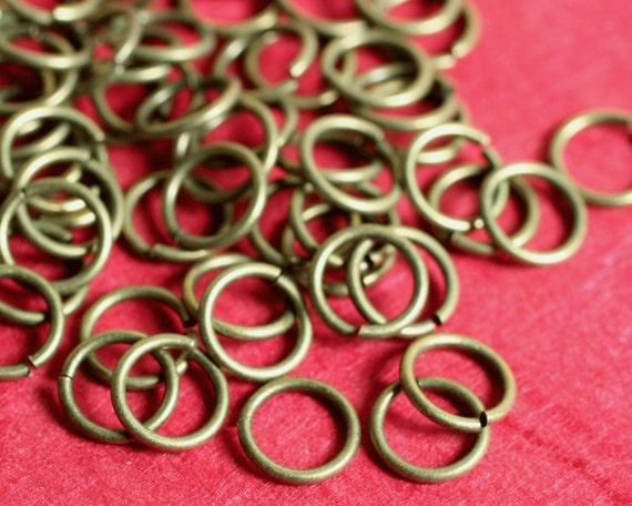 Antique brass jump ring 18G thick, 7mm outer diameter, 100 pcs (item ID ABJR18G7m)