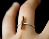 Linear Bar ring in Brass, sterling silver stackable ring, silver stack ring, hammered bar ring, minimalist bar ring, brass bar ring