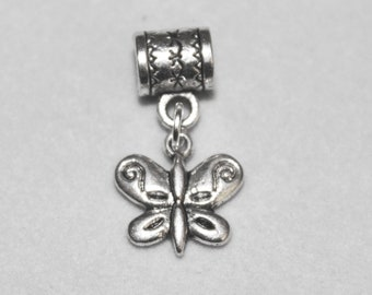 Silver Butterfly Lrg Hole Bead Fits All European Style Add a Bead Charm Bracelet Jewelry PND-Anm095eb