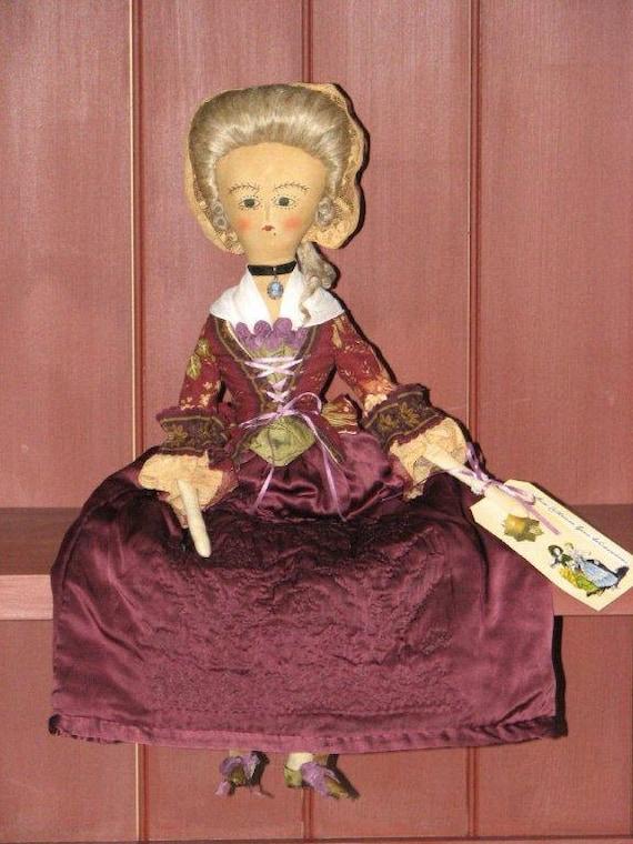 Catharine Wickersham--OOAK Queen Anne inspired cloth doll