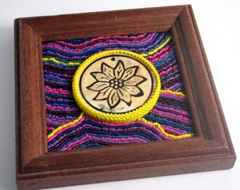Flora // Beaded Painting // Mixed Media Art // Seed Beads // Wooden Flower Bead // Purple, Pink, Blue, Yellow