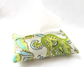 Pocket Tissue Cozy Cover - Dancing Paisley in Limestone - Great Stocking Stuffer