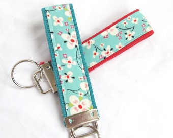 Wristlet Key Fob Key Chain - Orchard Blossom - Fabric Keychain on coordinating webbing