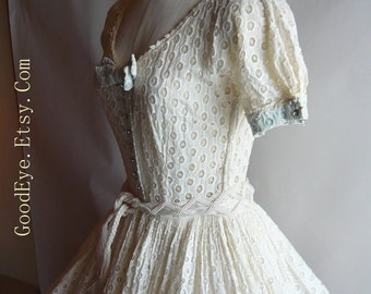 Amazing 50s Party Dress SHEER Eyelet Cotton Full Ivory Small Unusual Vintage Wedding Party
