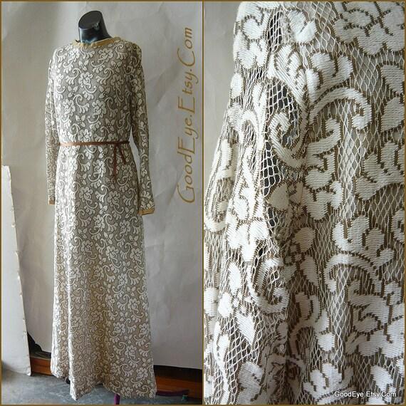 Vintage 60s Lace Maxi Dress Sheer Sleeve Small Ivory Beige Wedding Floor Length Kaftan