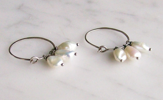 Sterling Silver Hoop Earrings Pearl Drops