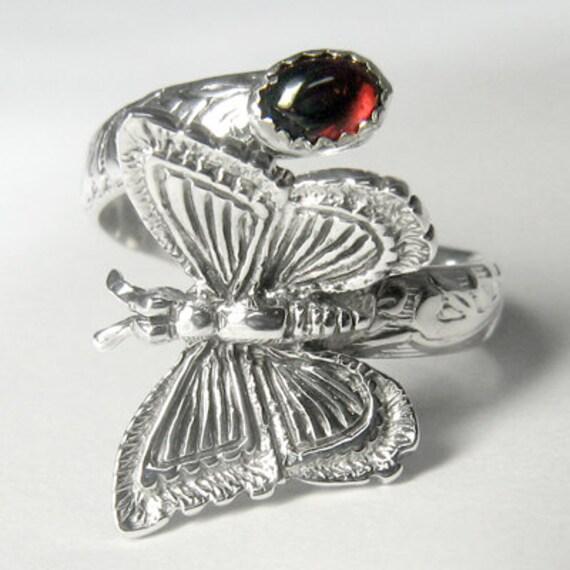 Butterfly Handmade Sterling Silver Gemstone Adjustable Spoon Ring (choose your gemstone)