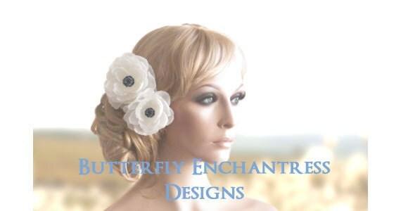 Bridal Hair Flower Clips, Wedding Hair Accessories, Hair Clips - 2 Diamond White Coronado Anemone Flower Clips - Black Rhinestone