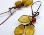Golden Leaf Earrings, Frosted Leaf, Carnelian Berry, Copper Earwires, Autumnal Jewelry