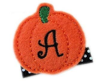 Cute Hair Clips for Girls - FeLt Monogram Halloween Hair Clip Orange pumpkin personalized hair clips for girls Bow