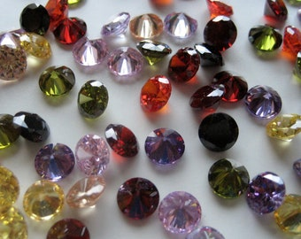 5mm Cubic Zirconia, Pair of Round Gems - Pick Your Own Colors (X116)