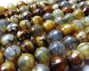 8 mm Faceted Dragon Vein Agate Beads - Half Strand
