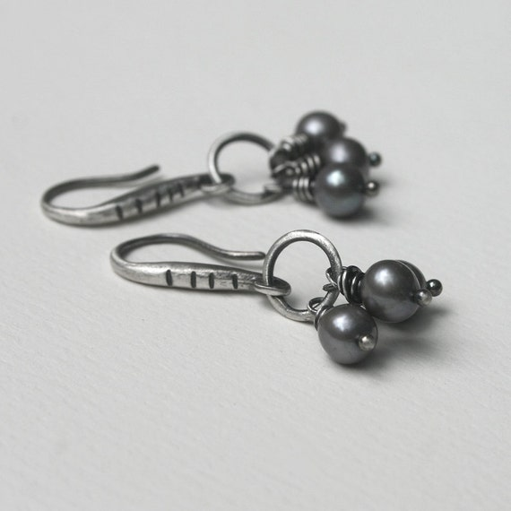 Silver Freshwater Pearl Earrings Grey Gray Handwired Danglies . All Yours