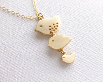 Three Birds Gold Jewelry Necklace - Mother - Daughter - Sisters - Grandchildren - Gift for Her - Family Jewelry - Under 30 - Gift Guide