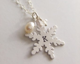 Snowflake Pendant Jewelry Necklace - Pearl - Personalized Jewelry - Sterling Silver Jewelry