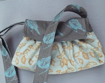 Aqua Blue Hip Bag - Ginko Leaves - Black birds - Adjustable Strap