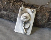 Pearl Necklace Sterling Silver Flower Pendant Hand Forged Metalwork Necklace Dog Tag Style Pendant
