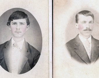 vintage photo Brothers Blain Perry Co Pennsylvania tinted cheeks CDV w photos carte de visite