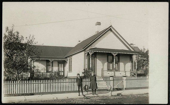 vintage photo Brother Sister and Dog in front of home 1910 California RPPC