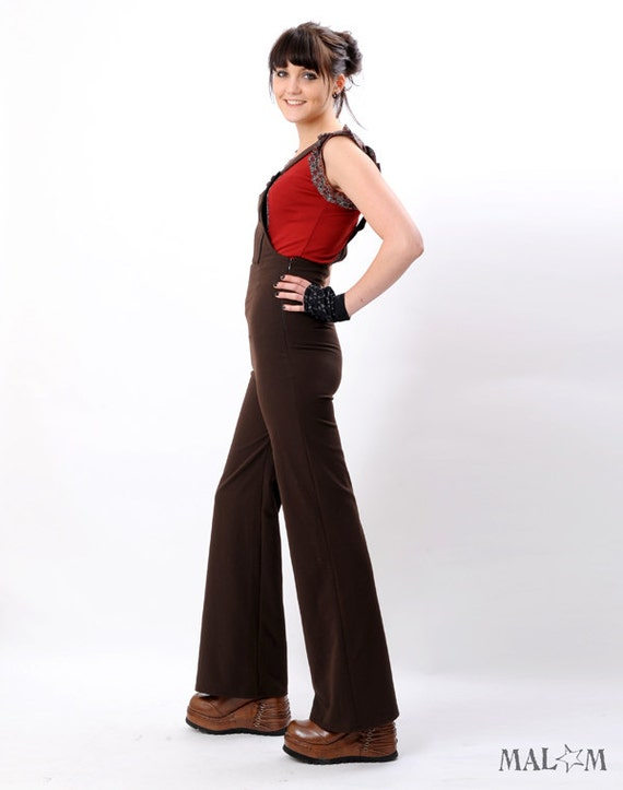 Women overalls - Fitted and Flared Slacks in stretchy dark brown - womens jumper - size S