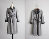 vintage two tone gray belted wool coat