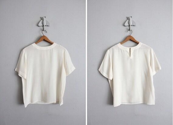 vintage cream slouchy silk blouse