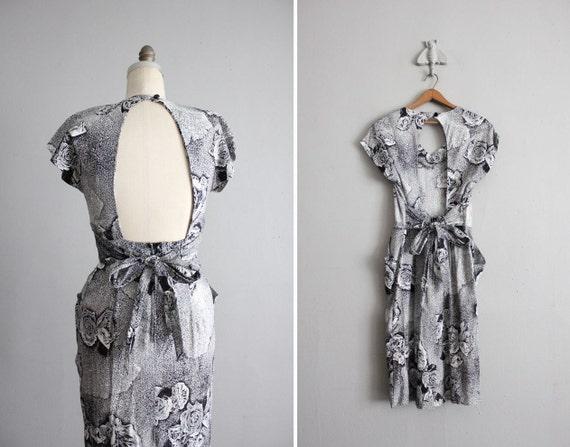 on hold - vintage open back static rose print dress