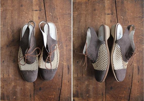 vintage mesh shoes / open heel oxfords / size 7.5-8