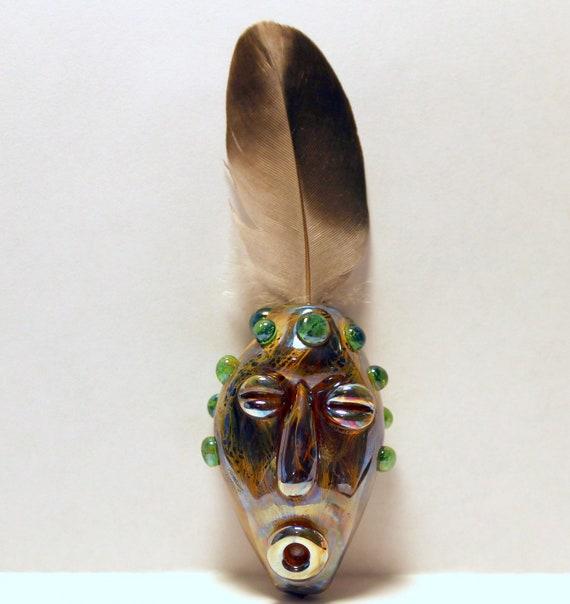 Tiki Head Glass Lampwork Bead