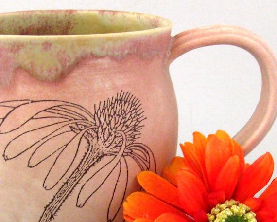 Coffee Mug - Wild Flowers  -  16 oz  - Hand  Thrown Stoneware