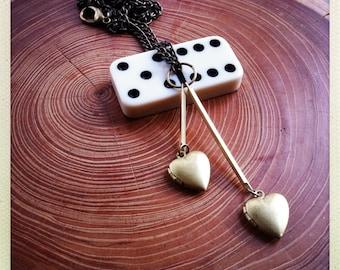 little heart locket necklace -  brass hearts