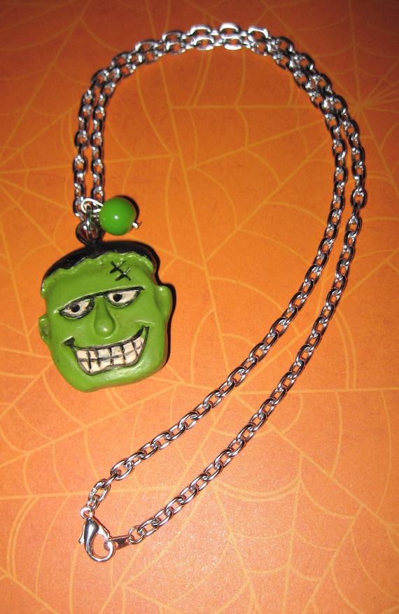 Frankenstein Necklace Frankenstein Jewelry Halloween Charm Pendant Horror Monster Costume Accessory FREE SHIPPING USA/Canada