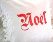 Made To Order White Linen Blend Noel Ruffle SLIP COVER