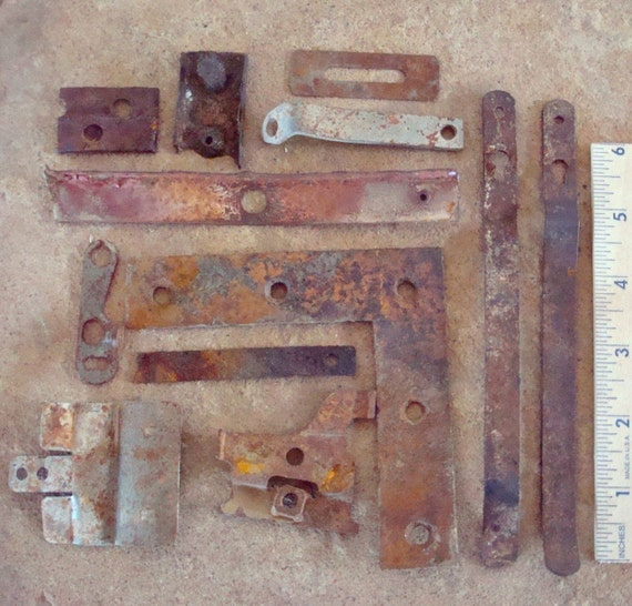 Rusty Flat Metal Strips Pieces with Holes Found Objects for Assemblage, Altered Art or Sculpture - Industrial Salvage