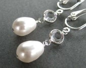 Pearl Drop Crystal Clip On Earrings, White Pearl Teardrop, Silver Ear Clips, Handmade, Simply Modern