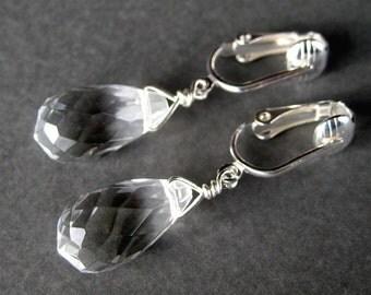 Clear Teardrop Clip On Earrings, Silver Ear Clips, Faceted Glass Teardrops, Handmade, Ice Drops