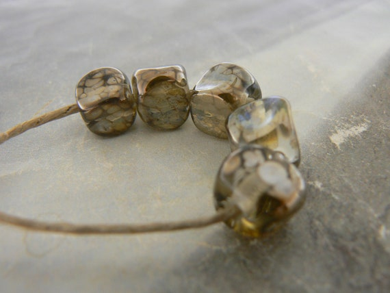 Shimmer Antique Gold Glass Nugget  Beads... Handmade Lampwork
