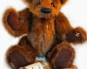 """Handmade Artist Teddy Bear with Bees and Honey Jar, 12"""" Tall"""