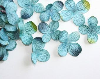 36 Silk Hydrangea Petals in Dark Turquoise ... silk flower, artificial flower, millinery craft - ITEM 0400