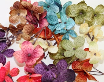 72 Silk Hydrangea Petals in 8 Mixed Colors - Cream, Turquoise Blue, Bright Pink, Mauve Pink, Purple, Orange, Brown, Red - ITEM 0384