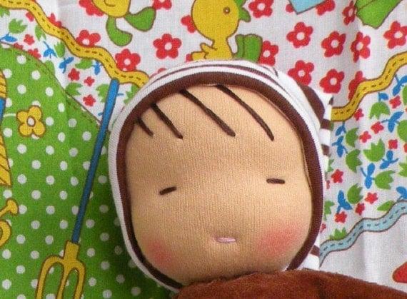 waldorf doll-toddler doll-brown stripes