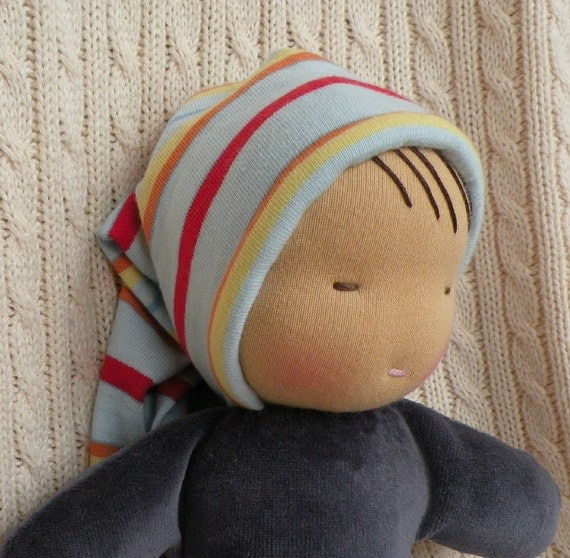 waldorf inspired doll-toddler doll-blue stripes